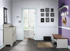 This is the project I created on Behr.com. I used these colors: SPA RETREAT(PPL-72),CLASSIC WALTZ(P570-6),CALIFORNIA LILAC(600A-3),LILAC MIST(PPU16-06),LILAC CHAMPAGNE(640E-2),