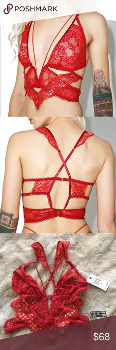 For Love and Lemons etienne lace bra!! 🌹🌹 Super sexy long line bra by For Love and Lemons!! Super bold and strappy!! The red color is gorgeous!! Perfect piece of lingerie or you can layering under low cut outfits and let it show!!! Brand new with tags!! For Love And Lemons Intimates & Sleepwear Bras