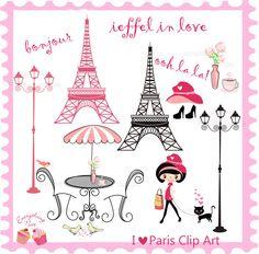 I love Paris Clip Art  Set                                                                                                                                                                                 Mais
