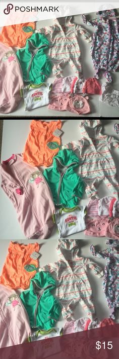 Bundle 3 Mo Baby Girl Outfits Bundle 3 Mo Baby Girl Outfits Fall Winter 17 pieces sleepers NWT Romper Hats Fleece Jacket  various brands Carter's Excellent Very Good condition 🚫 Trades (BGE) Carter's One Pieces
