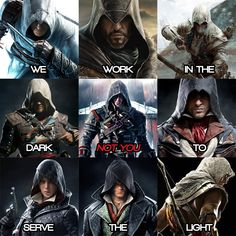 """"""" — Reasons Why I Play Assassin's Creed: A Pie Chart - Yıldız Fırsat Assassins Creed Quotes, Assassins Creed Cosplay, Assassins Creed Black Flag, All Assassin's Creed, Mundo Superman, Assassin's Creed Hidden Blade, Assassin's Creed Black, Creed Movie, Special Forces"""