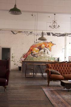 Fox mural at the Daisylegs design studio in Melbourne, Australia.