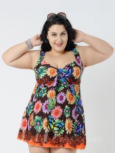 Brown Flower Conservative Colorful Printed High Elasticity Plus Size Swimsuit With Little Skirt Lidyy1605241068