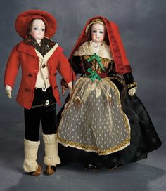 Pair, French Bisque Poupees in Traditional Folklore Costume of Bearnaise Region 3500/4500