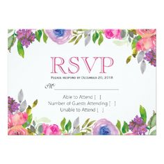 Spring Flower Pink Floral Lace Wedding RSVP Card - rustic gifts ideas customize personalize