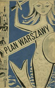 Plan Warszawy, 1965 by mononukleoza. Siren Mermaid, Polish Posters, Underwater Creatures, Art Deco Posters, Vintage Mermaid, Mermaids And Mermen, Merfolk, Art Journal Inspiration, Love Design