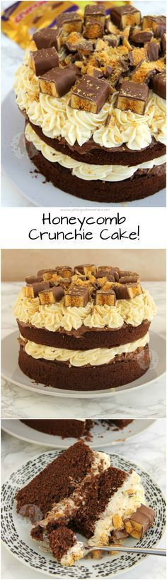 Honeycomb Crunchie Cake!! ❤️ Chocolate Sponge, Crunchie Spread, Honey Buttercream Frosting & Crunchies!