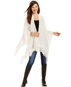 Style & Co. Fringed Open-Front Poncho, Only at Macy's