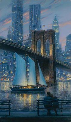Imagen de city, couple, painting, art and bridge