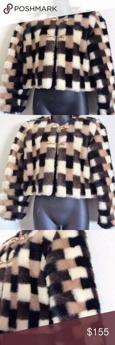 """Vintage Retro Checkered  Faux Fur Bolero Jacket Handmade Contrasting Pink Linen lining 100% Acrylic Gold Colored Buttons Size Small  Bust: 32"""" Length: 17"""" Back: 14"""" Inseam: 15"""" Vintage Jackets & Coats Capes"""