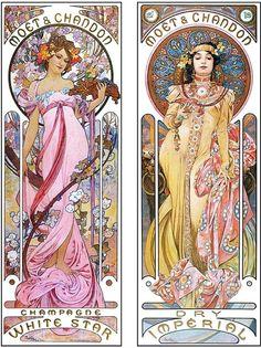 Mucha Art Nouveau, Alphonse Mucha Art, Art Nouveau Poster, Portfolio D'art, Design Art Nouveau, Illustration Art Nouveau, Jugendstil Design, Moet Chandon, Desenho Tattoo