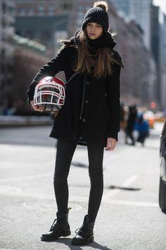 A model carried her Tommy Hilfiger helmet.