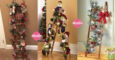 Ideas para incorporar escaleras a la decoración de Navidad - Dale Detalles Christmas Decorations, Christmas Tree, Holiday Decor, Craft Stores, Ideas Para, Ladder Decor, Garland, Embellishments, Diy And Crafts