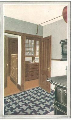 "Stained wood kitchen from ""The Inviting Home"" 1918 published by Boston Varnish Company."