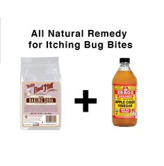 A natural remedy for itching bug bites: Make a thick paste of baking soda and ACV. Gently apply the paste to the bite and allow to dry. It will alleviate the itching by the time it has dried. Wash off with warm water.
