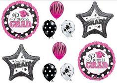 princess graduation decorations | PRINCESS GRAD Graduation Party ZEBRA Mylar balloon Decorating kit ...