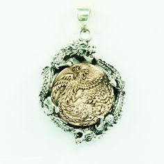 TWIN JAPANESE DRAGON PROTECTING PHOENIX 925 STERLING SILVER BIKER PENDANT gb-139