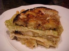 Apparently I like eggplant lasagna, huh? I made this lasagna in gargantuan proportions for a catering job last fall and a certain friend happened to be in attendance. Since then she has been hinting at me making this for her; it hasn't happened yet ...