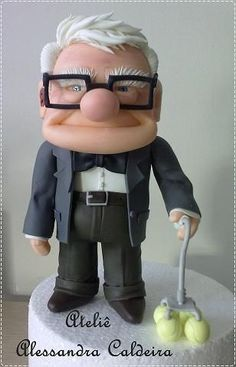 Carl from Up gum paste fondant figure Pretty Cakes, Beautiful Cakes, Amazing Cakes, Fondant People, Fondant Tutorial, Fondant Toppers, Disney Cakes, Fondant Figures, Specialty Cakes
