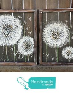 Twin Dandelion,Make a wish, recycled ,hand painted on window screen from RebecaFlottArts http://www.amazon.com/dp/B0174WD2NS/ref=hnd_sw_r_pi_dp_-o7lwb03KQC67 #handmadeatamazon