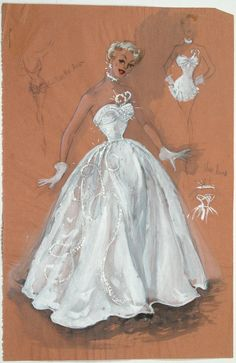 """Edith Head Paramount 1957 costume design sketch formal evening gown, front view, the back w/ the """"bustle bow"""" & the front w/o the skirt section."""