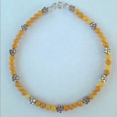30% Off Bundles Natural Jasper Anklet Yellow jasper with flower spacer with a sterling silver clasp. Handmade! New! Cindylou's Design Jewelry