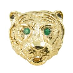 1stdibs | VAN CLEEF & ARPELS Gold and Emerald Lions Head Ring
