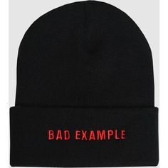 BAD EXAMPLE BEANIE ($21) ❤ liked on Polyvore featuring accessories, hats, patch hat, beanie cap hat, vintage beanie, hipster beanie hat and hipster hat