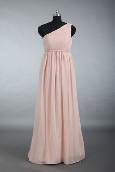 Blush Bridesmaid Dress, One Shoulder Chiffon Bridesmaid Dress, Empire Waist Long Chiffon Bridesmaid Dress by harsuccthing on Etsy