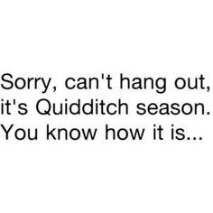 You know how I am when it comes to Quidditch