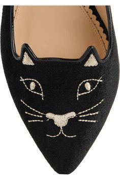 Charlotte Olympia - Mid-century Kitty Embroidered Velvet Point-toe Flats - Black - IT36.5