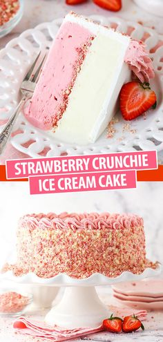 Ice Cream Desserts, Köstliche Desserts, Frozen Desserts, Summer Desserts, Ice Cream Recipes, Frozen Treats, Delicious Desserts, Strawberry Crunch Cake, Strawberry Shortcake Ice Cream