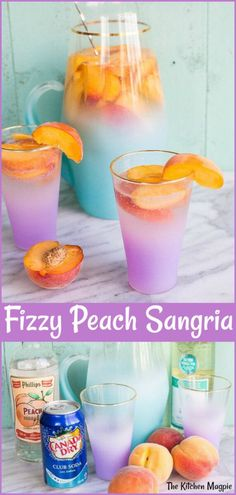 How to Make a seriously delicious Sparkling Peach Sangria! Peach schnapps, wine and fresh peaches make this the best peach sangria you will ever taste! Cocktail Vodka, Cocktails, Party Drinks, Fun Drinks, Yummy Drinks, Beverages, Sparkling Sangria, Holiday Drinks, Peach Sangria Recipes