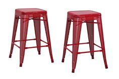 Dorel Home Furnishings Nova Red 24 Metal Mesh Backless Counter Stool, Set of 2, Black