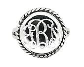 Sterling Silver Personalized Monogram Engraved Ring Round with Rope Edge Rope Trim Signet Ring