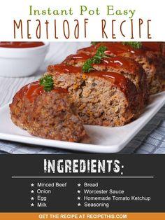 Instant Pot | Instant Pot easy meatloaf recipe from RecipeThis.com (Meatloaf Recipes Easy)