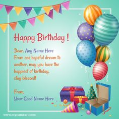 Amazing Birthday Wishes Greeting Card With Name.Birthday wishes with name editing image. Best birthday wishes for friend etc. Birthday Wishes Greeting Cards, Birthday Wishes With Name, Happy Birthday Wishes Cake, Birthday Thanks, Birthday Thank You Cards, Happy Birthday Greetings, Birthday Celebration, Card Birthday, Birthday Messages