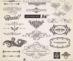 A set of vector, ornate design elements. EPS, VSG and AI stock vector clip art. Free for download.