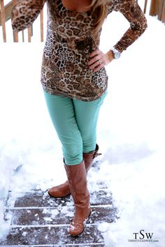 Animal Print and Mint Jeans. Oh how I wish I could pull this off!!