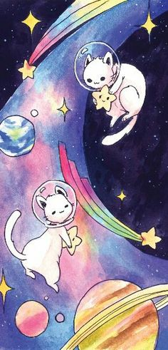 Cats on a rainbow bridge in space