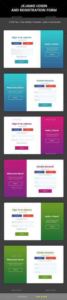 Login & Registration Form Templates PSD. Download Registration Form, Create Account, Web Forms, Accounting, Amp, Templates, Healthy Food, Photos, Crafts