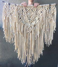 Big Boho Macrame Wall Hanging / Cream Shabby Chic Yarn Tapestry / Bohemian