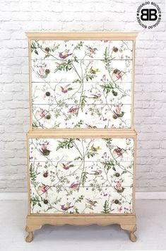 Stunning Professionally Upcycled Vintage Chest of Drawers Hummingbird Decoupage  | eBay