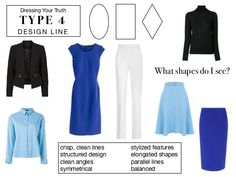 DYT Type design line ~ Parallel lines moving in any direction, elongated ovals, rectangles, or symmetrical lines any part of the garment. Capsule Outfits, Capsule Wardrobe, Fashion Capsule, Wardrobe Ideas, Work Outfits, Fashion Advice, Fashion Outfits, Womens Fashion, Preppy Wardrobe