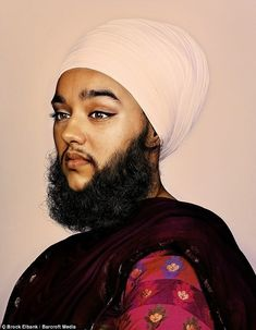 British woman Harnaam Kaur started growing facial hair at 16 as a side effect of polycystic ovary syndrome. She tried waxing, shaving and bleaching before being baptised a Sikh, which forbids the cutting of body hair. Glitter Beards, Growing Facial Hair, Look At Her Now, Bearded Lady, Photography Exhibition, Artistic Photography, Great Beards, Genderqueer, Shooting Photo