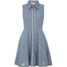 Yumi Anchor print shirt dress (620 ARS) ❤ liked on Polyvore featuring dresses, vestidos, short dresses, denim, clearance, blue mini dress, shirt dresses, short sleeveless dress, blue sleeveless dress and polka dot mini dress