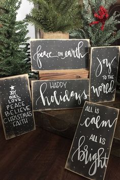 These cute mini Christmas signs are unique no two identical. Each sign is custom made to order, hand painted not stenciled, sealed with a clear topcoat. At checkout choose your style you desire. Perfect for the home with a rustic style. Sign measures 16 x Noel Christmas, Rustic Christmas, Diy Christmas Gifts, Christmas Projects, Winter Christmas, Holiday Crafts, Christmas Decorations, Christmas Signs Wood, Christmas Wood Crafts
