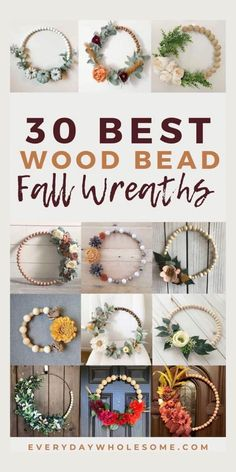 Wood Bead Garland, Beaded Garland, Wreath Crafts, Diy Wreath, Wreath Ideas, Bead Crafts, Wooden Wreaths, Fall Wreaths, Easter Wreaths