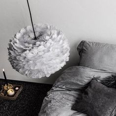 The Eos Grey Shade by Vita Copenhagen is made from natural goose feather. The light is warm and diffusing. Eos, Tripod Table Lamp, Table Lamp Shades, Designers Guild, Farrow Ball, Design Shop, Girls Bedroom, Bedroom Decor, Bedrooms