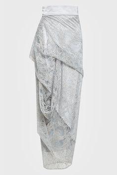 Lilian Draped Lace Skirt in Ash Grey Kebaya Modern Hijab, Model Kebaya Modern, Kebaya Hijab, Kebaya Muslim, Kebaya Lace, Batik Kebaya, Kebaya Dress, Batik Dress, Skirt Fashion